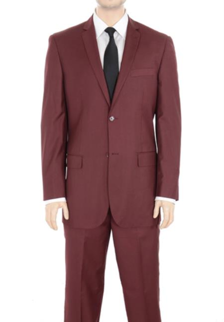 Product# PN76 Two Button 2 Button Style Suit Notch Lapel Solid Burgundy Slim narrow Style Fit No Pleated Slacks pants side Vented