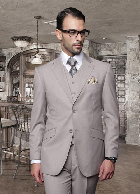 Classic 3PC 2 Button Style Solid Tan khaki Color ~ Beige Athletic Cut Suits Classic Fit  Superior Fabric 150's Pick Stitched lapel Italian Fabric