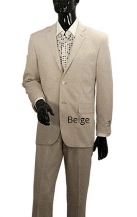 Product# SM1316 Light Tan khaki Color Sand Stone Beige 2 Button Style Men's 2 Piece Linen Causal Outfits Summer Suit Jacket + Pants / Beach Wedding Attire For Groom