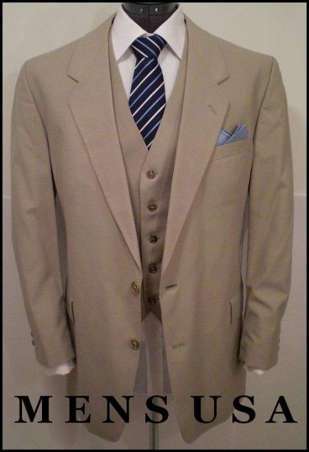 British Tan khaki Color ~ Beige Solid 3 Piece Three Button three piece suit double vented