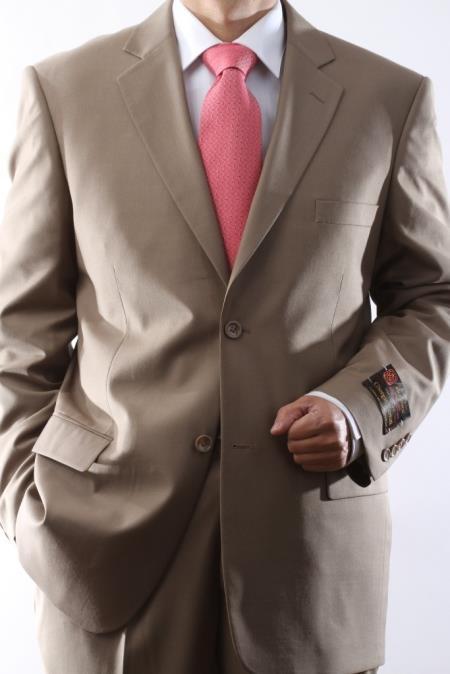 2 Button Style Tan khaki Color Beige Dress Suit with Flat Front Pants