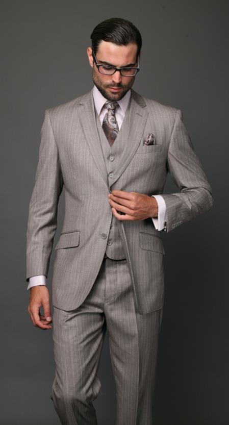 Product# 2UJC Classic 3PC 2 Button Style Tan khaki Color ~ Beige Pinstripe three piece suit Superior Fabric 150's Extra Fine Italian Fabric
