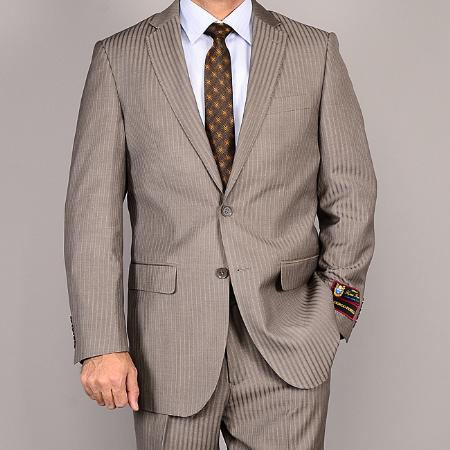Product# ASD31 Side Vented Jacket & Flat Front Pants Taupe Stripe ~ Pinstripe 2-Button Suit
