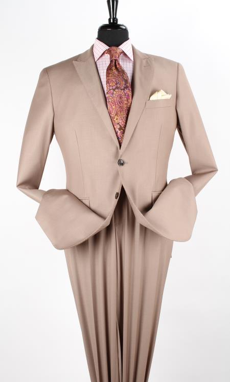 AFA21 2 Piece Executive Discount three piece suit - Peak Lapel Taupe