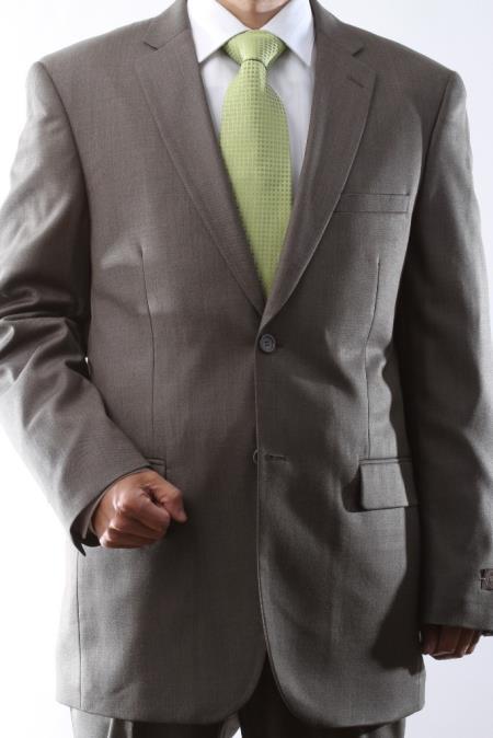 QDV77 2 Button Style Taupe Tonal Dress Suit Flat Front