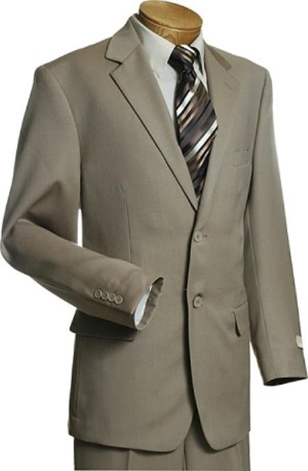 YG2318 Exclusive 2 Button Style Taupe Wool Fabric Suit Taupe