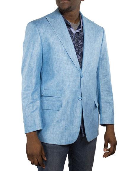 Men's One Ticket Pocket Thread & Stitch 100% Men's 2 Piece Linen Causal Outfits Blazer Turquoise / Beach Wedding Attire For Groom Perfect For Prom Clothe - Prom Outfits For Guys