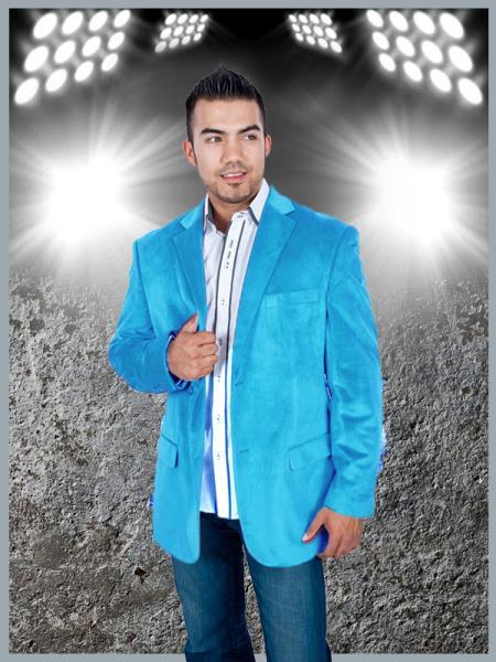 Product# AQU4 Stylish 2 Button Style Sport Jacket Aqua turquoise ~ Light Blue Stage Party Light Blue Discounted Affordable Velvet ~ Velour Sport coat Blazer Online Sale