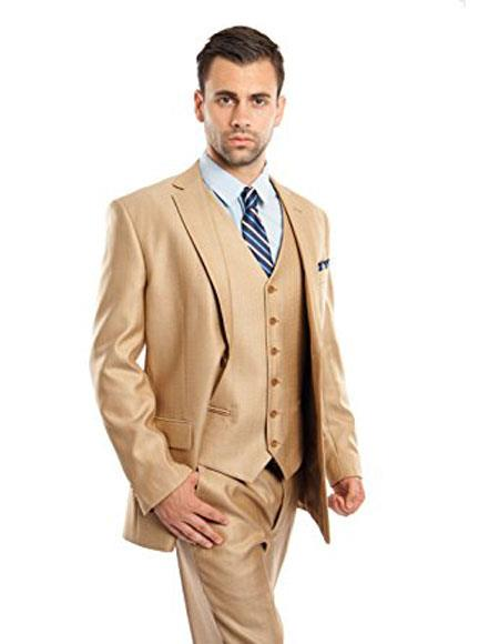 CH1735 Mens Two Buttons Modern Fit 3 Piece Vested Suits Flat Front Pants