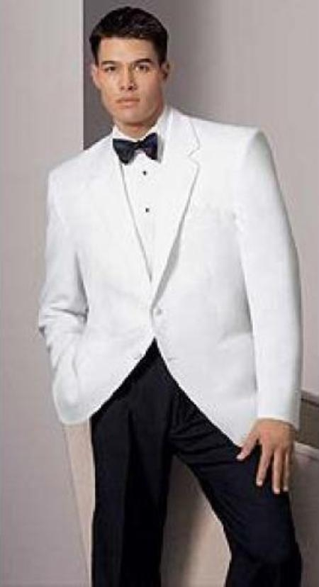 Product# MK234 White Dinner Jacket - 2 Button Style Notch Lapel