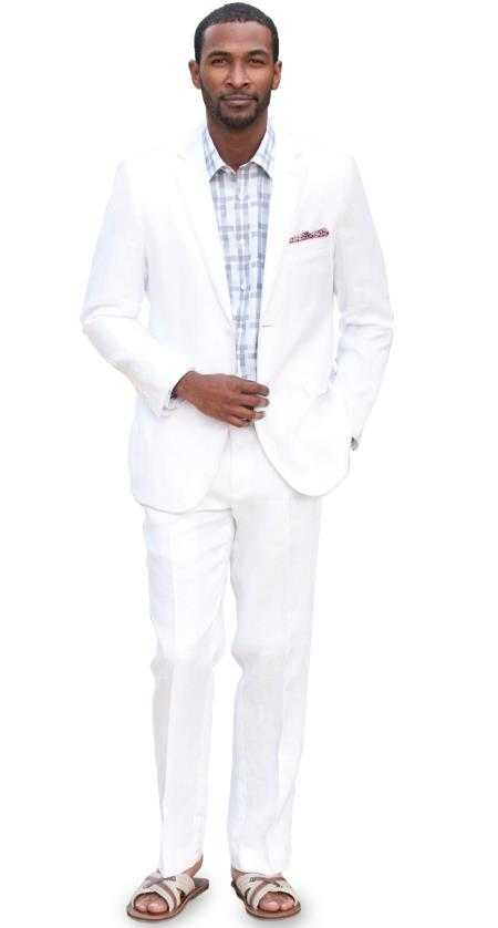 Product# UL4D 2 Button Style Solid Linen Suit - White & Kids Boys Sizes