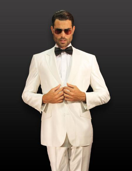 Product# PQ10001 White 2pc 2 Button Style Shiny Shark Skin Suit ( Jacket and Pants)  For Men with Pikie Stitches on the Lapel