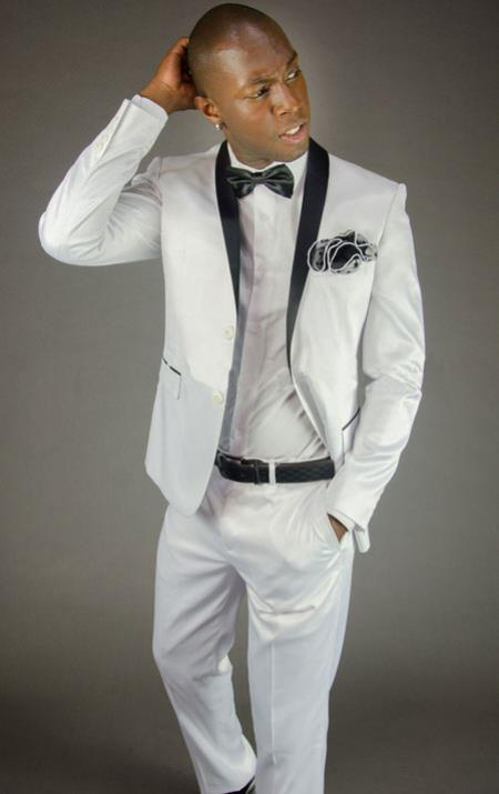 2 Button Style White Shawl Lapel Slim narrow Style Fit Tuxedo Clearance Sale Online