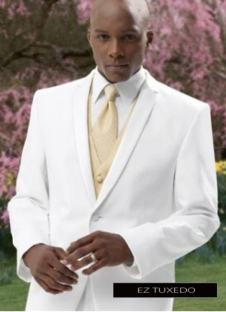 Product# Fer_TX_2 2 Button Style White Tuxedo Suit + Tux Shirt & Bow Tie With Any Color Optional Color Vest & Tie Pacakge Deal