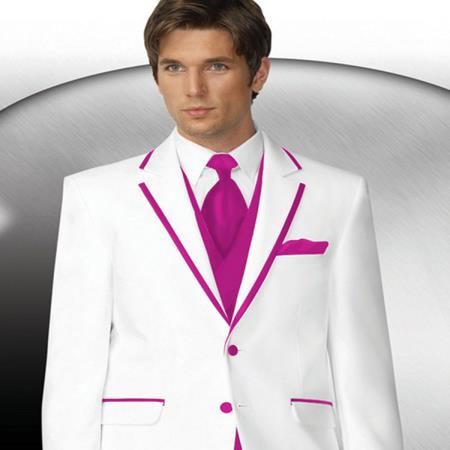 Product# PN80 2 Button Style White Tuxedo With Hot Pink ~ Rose ~fuchsia ~ hot Pink Trim Collar + Matching Vest & Tie & Pants