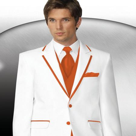Product# PN76 2 Button Style White Tuxedo With Orange Trim Collar + Matching Vest & Tie & Pants