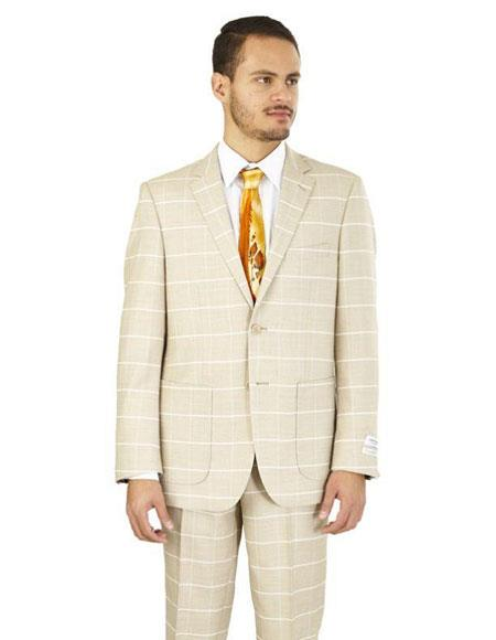 GD1509 Mens Plaid ~ Windowpane Pattern 2 Buttons Suits Tan