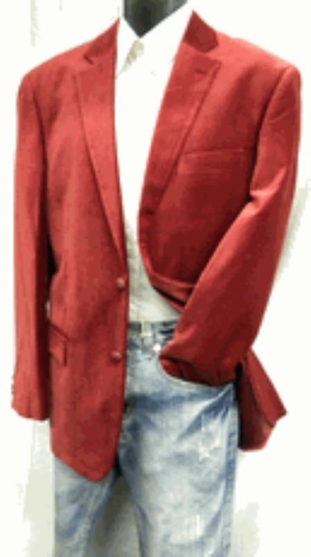 2 Button Style Wine Velvet Blazer Online Sale Coat