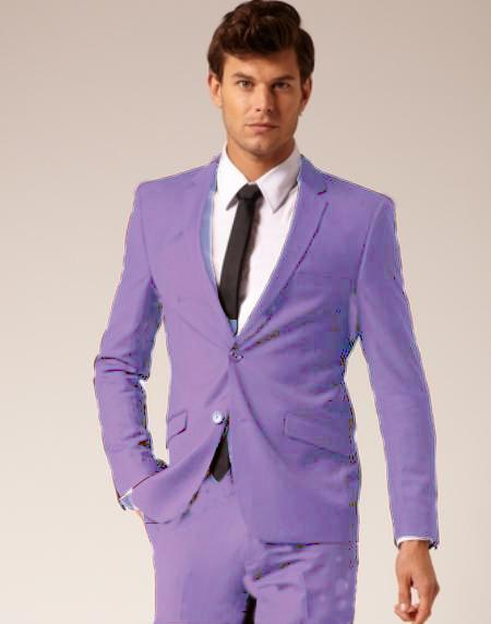 Product# LVR913 2 Button Style Wool Fabric & Cotton Suit Flat Front Pants Lavender