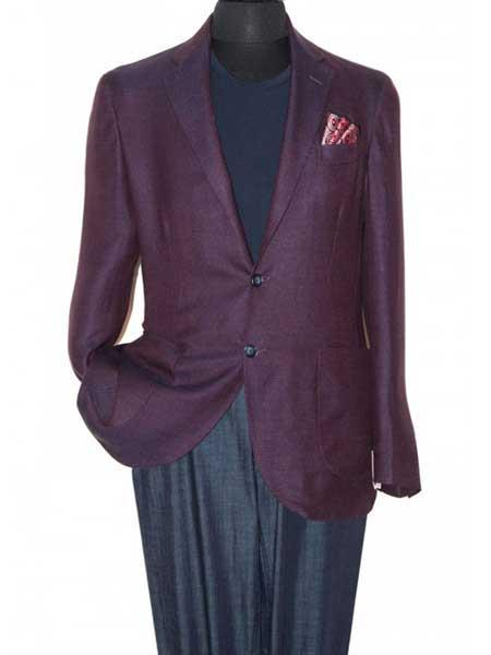Product# SM1248 Eggplant 2 Button Style Notch Lapel Single Breasted Wool Fabric Sportcoat Blazer Online Sale