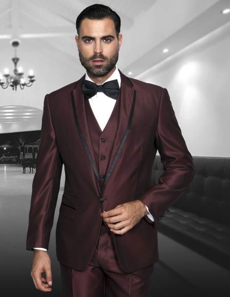 Mens Burgundy 3 Piece