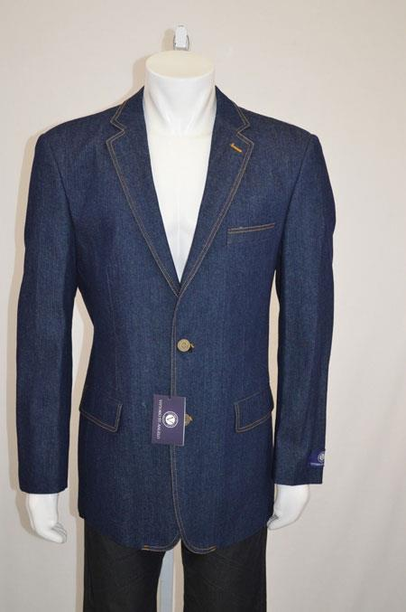 Two buttons Jean Sport coat Jacket Denim Blazer Online Sale with Contrast Stitches Blue