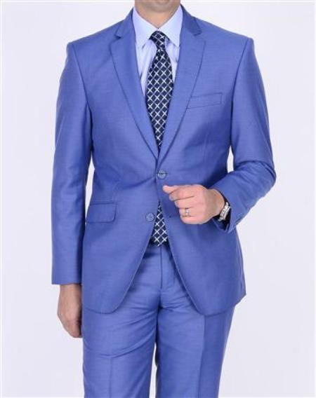 2 Button Style Teal Blue Cobalt ~ Indigo Cobalt Steel Darker Than Royal Color Suit