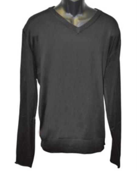 Mens Black V Neck