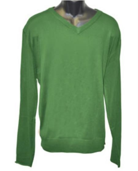 Product# JSM-2827 Men's K Green V Neck Long Slevee Sweater