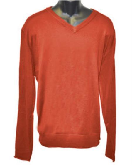 Product# JSM-2833 Men's V Neck Long Slevee Rust Sweater