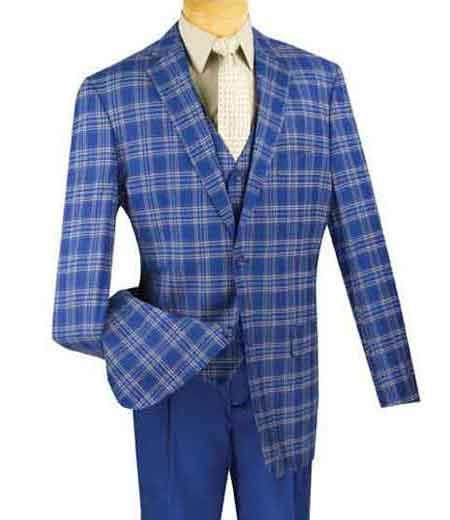 Product# SM1313 Vinci Plaid 3 Piece Blue Single Breasted Classic Fit Fashion Compose Suit