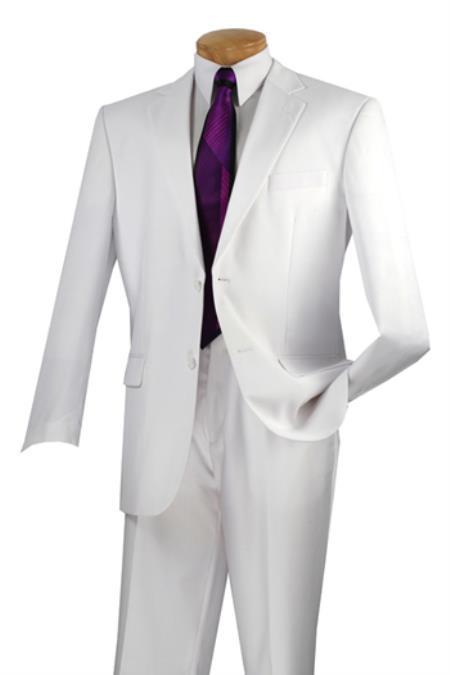 Product# PN_U51 Vinci 2 Button Style White Suit Flat Front Pants