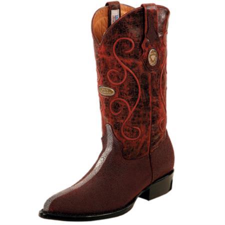 Product# PN_V66 Wh-Dimond Western Cowboy Boot Mantarraya Perla Pulida Horma Puntal Vino