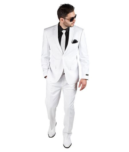 White Slim narrow Style Fit 2 Button Style Notch Lapel Suit Clearance Sale Online