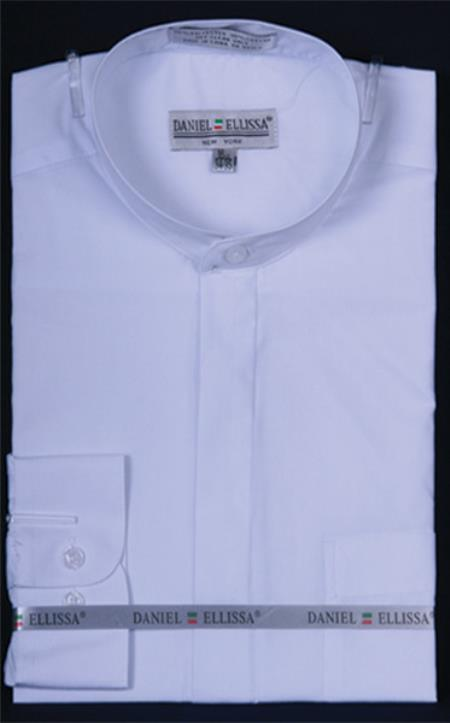 Product# PN_C52 Banded Collar dress shirts without collars no collar mandarin White
