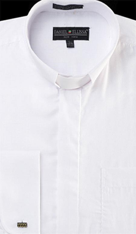 Product# PNM65 Banded Collar Clergy dress shirts no collar mandarin Collarless - French Cuff White