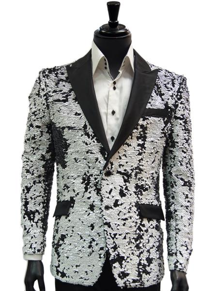 Product# SM4405 White and Black Two Toned Sequin Dinner Jacket Blazer ~ Sport coat