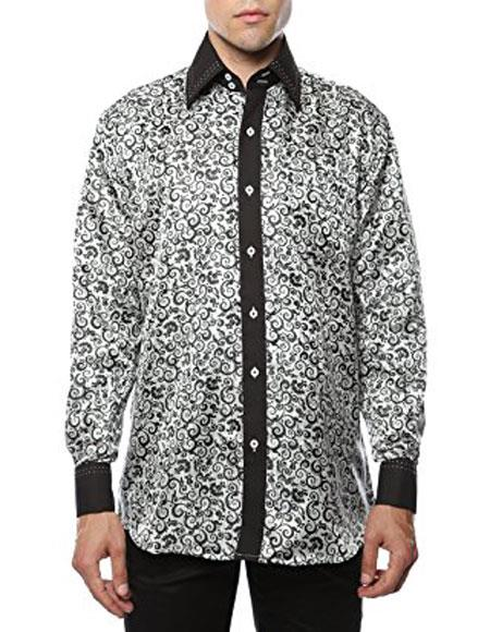 Product# JSM-3518 Men's Shiny Satin Floral Spread Collar Paisley White-Black Dress Shirt Flashy Stage Colored Two Toned Woven Casual