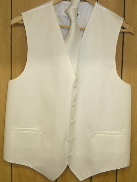 Product# KA1309 - WHITE VEST & TIE SET