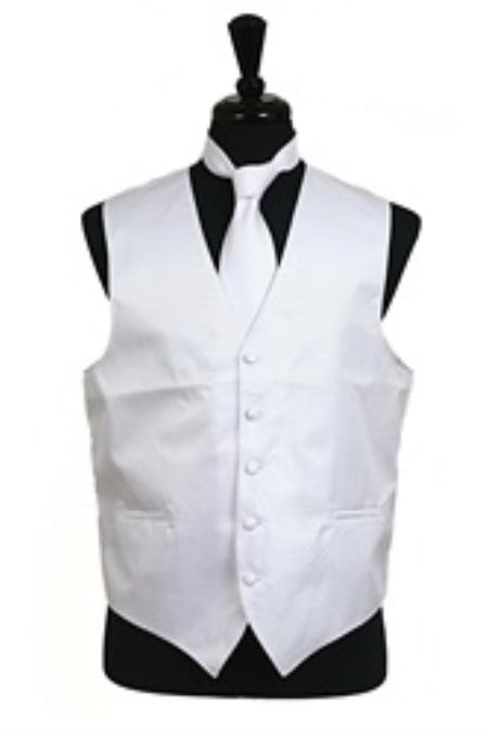 Product# VS2012 Horizontal Rib Pattern Vest Tie Set White