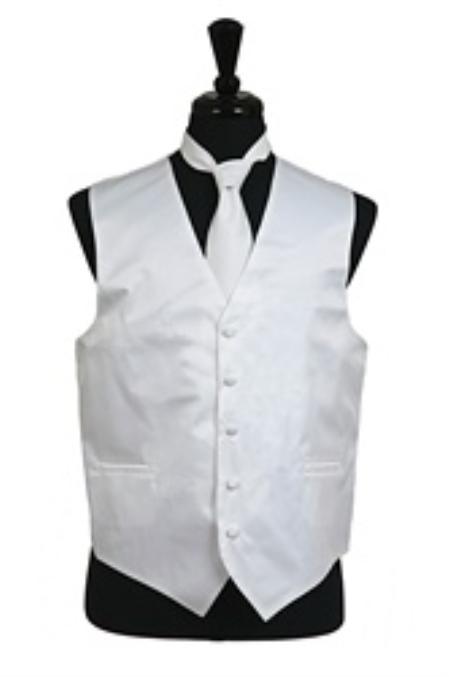 Vest Tie Set White