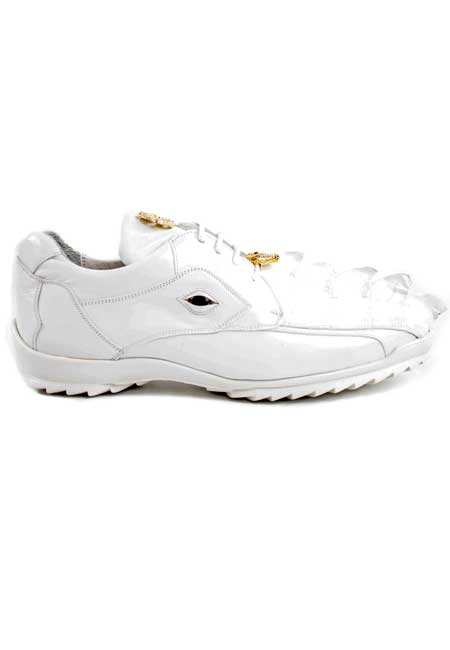 Authentic Belvedere Exotic Skin Brand Genuine Hornback Crocodile and Soft Calf Leather Lining White Shoe