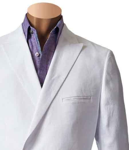 Product# SM839 Inserch Brand Brand White Double Breasted Blazer Online Sale Sport Coat Flat Front Pant 100% Linen Suit