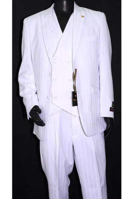 Product# SM1278 Falcone Brand Peak Lapel 3 Piece Luxury Striped Double Breasted Vest White Suit ( Jacket and Pants)  For Men