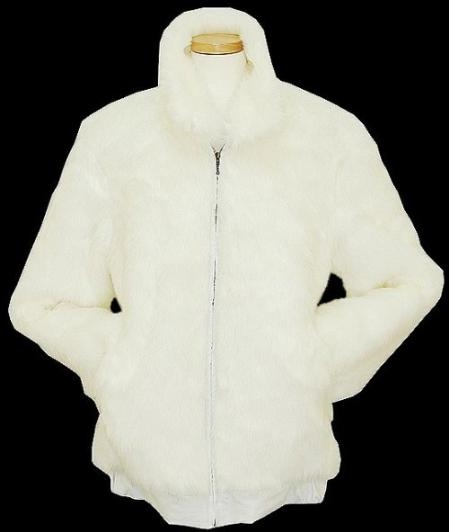 Product# GP5437 White Faux Fur Bomber Jacket