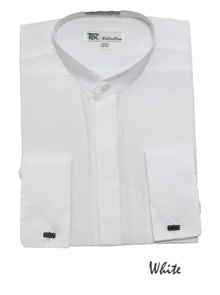 Product# GT5762 Fashion Hidden Button French Cuff no collar mandarin Collarless Dress Shirt White