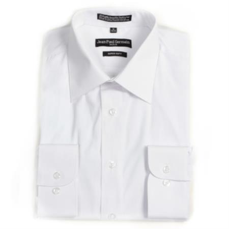 Product# DR-7512 White Convertible Cuff Big & Tall Dress Shirt
