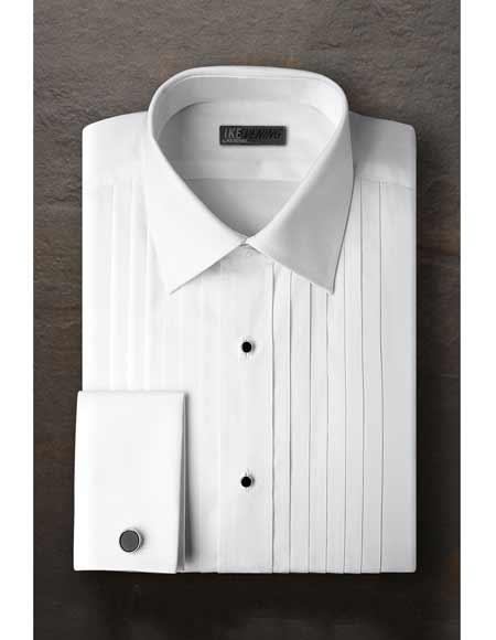 Vincent Regular Fit Pleated Slacks Laydown Tuxedo Shirt With Frenched Cuffed Ted Baker Brand White