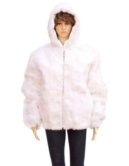 Product# GD863 Fur White Full Skin Genuine Rabbit Pull Up Zipper Jacket