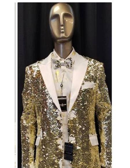 men's Fashion White ~ Gold Unique Shiny Flashy Fashion Prom Sequin Paisley Blazer ~ Suit Jacket Sport coat Tuxedo Jacket  Perfect For Prom Clothe - Prom Outfits For Guys